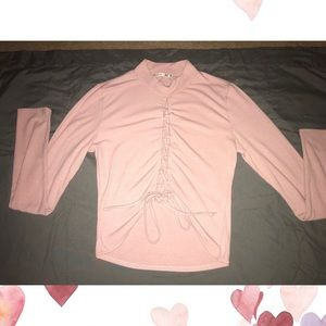 LNEW lace up turtleneck pink sweater top